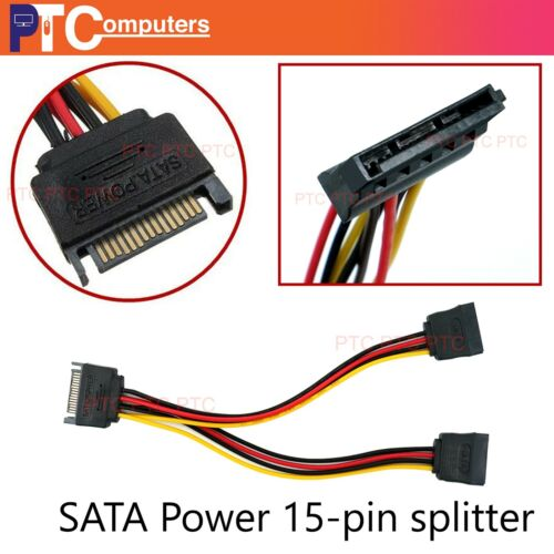 15pin Sata Y splitter/ Molex to Sata Power Extension cable convertor for HDD SDD