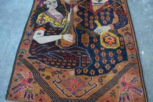 """2'9 x 4'5 Feet Unique""""Leila and Magna Lover""""Music Instruments Rug Decor"""