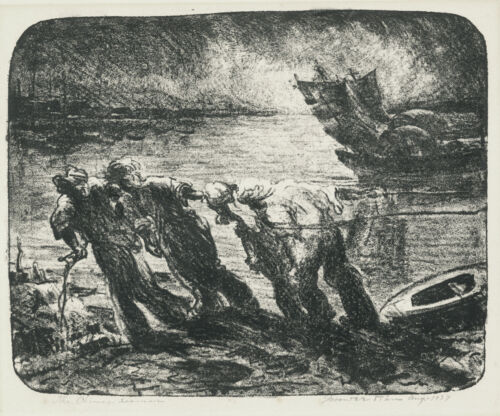 A fine industrial etching, signed but a mystery.  The Chinese Seamen, 1937