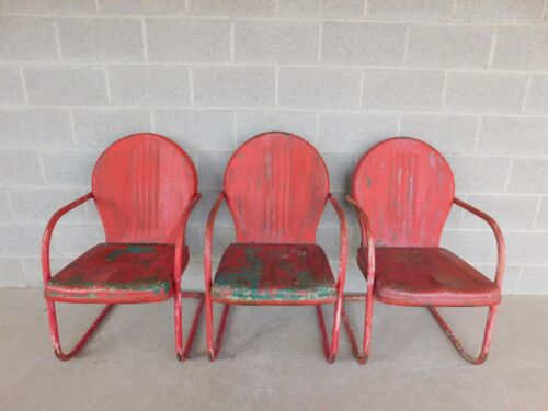 Vintage Steel Spring Base Arm Chairs - Set of 3