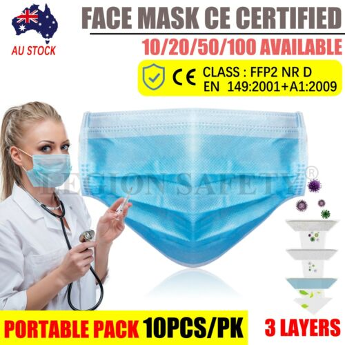 Face Mask Protective CE CERTIFIED 3 Layer Anti Bacterial Filter AU SELLER <br/> 😷CE Certified😷3 PLY😷Anti-Bacterial😷Fast Dispatch