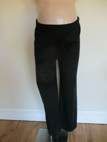 MATERNITY SMART BLACK TEXTURED WIDE LEG TROUSERS SIZE S/M 8-10