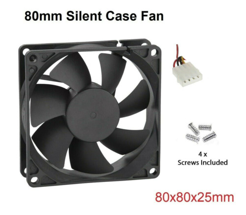 Case Fan 12V DC 80mm PC Case Fans 2 Pin Computer Cooling Fan 25mm Thick