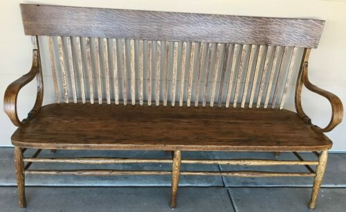 "Tiger Oak Bench, 66"" Vintage Bank/Lawyer Lobby Bench Old Mission Style Furniture"