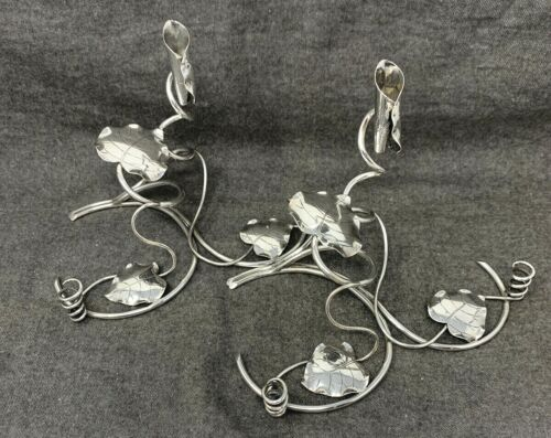 Tuck Chang & Co Shanghai Chinese export 900 Silver Vine Candlesticks