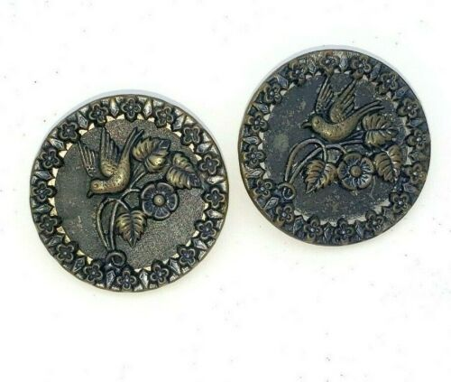Victorian Picture Buttons Birds Metal Buttons Doves on Branch Flowers Large 1.5""