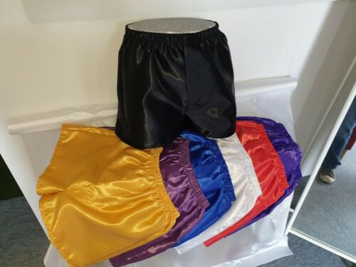 NEW Poly Satin Boxer Shorts with Fly Front - 7 Colours, S to 4XL