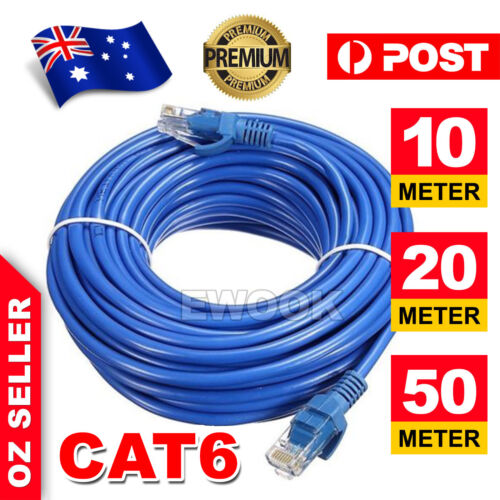 5m 10m 20m 30m 50m 100m Cat6 Network Ethernet Cable Lan Cables 100M/1000Mbps AU