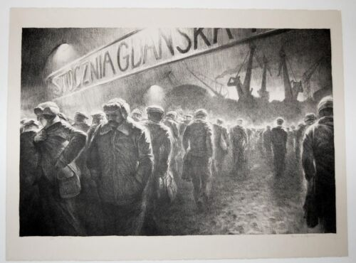 A great original lithograph by Richard Harden, Solidarity March, Gdarisk Poland