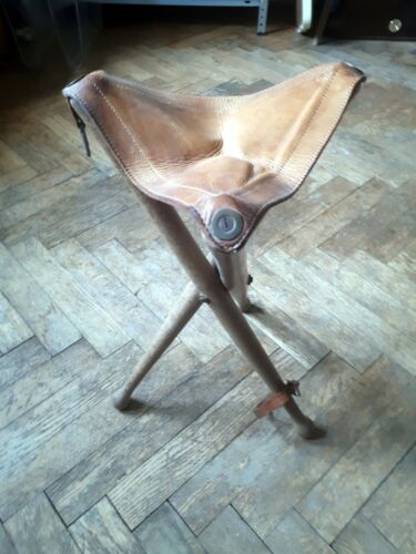 3 legged three camping fishing chair seat vintage modernist Mid Century Vienna