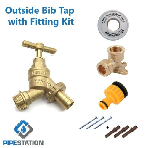 Outside Tap Kit, with Garden Hose Pipe Fitting and Wall Mounting Plate DIY Trade