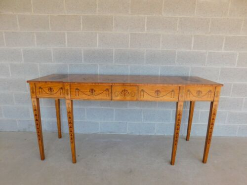 Vintage George III Style Neo-Classical Marquetry Console Serving Table 73w