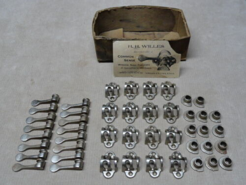 Lot of 14 Victorian 1870's Window Sash Fasteners Latch Lock Sets Nickel Plated