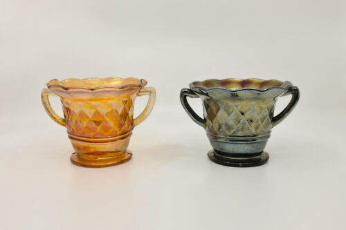 Pair of Australian Banded Diamond Carnival Glass Bowls, Crown Crystal c1920's