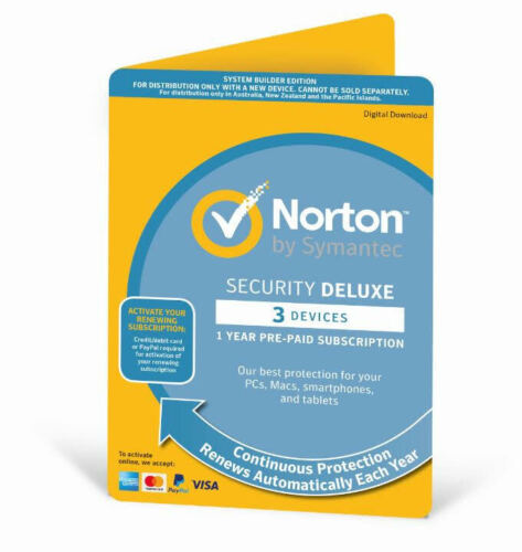 Norton Antivirus Internet Security DELUXE 2020  3 Devices 1 Year Software Key