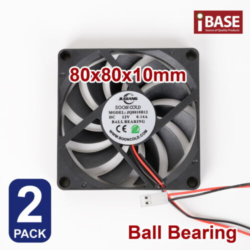 2x Computer Case Fan Ball Bearing PC Cooling Cooler DC 12V Silent 80mm x80x 10mm