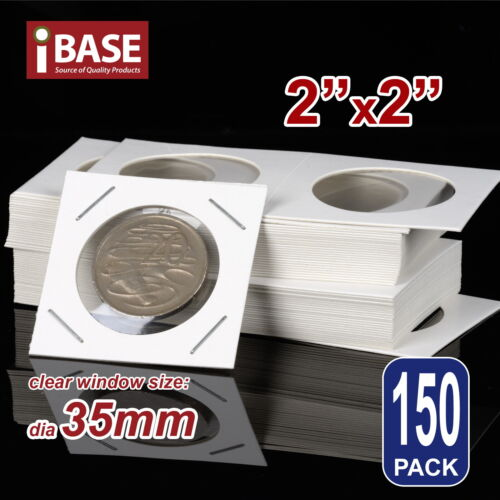 """150x Staple Coin Holder 2""""x2"""" Display Clear Window Storage Protect Cent 35mm"""