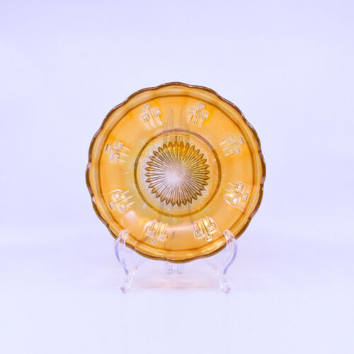Australian Pin Ups Carnival Glass Bowl, Crown Crystal c1920's, scarce