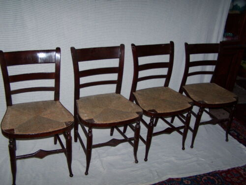 HITCHCOCK DINNING CHAIRS SET OF 6 C. 1820 4 SIDE AND 2 ARM RUSH SEAT BLACK PAINT