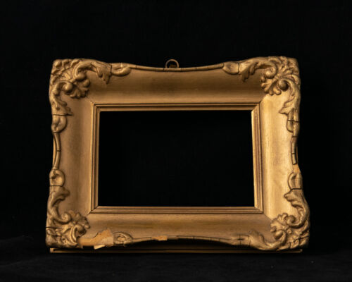 Pair Of Small Gilded Gesso Timber Picture Frames Ornate Decoration Italian Made