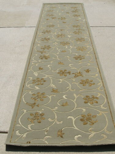 Vintage Hand Woven Momeni Silk and Wool Oriental Rug Runner Arabesque 30x147""