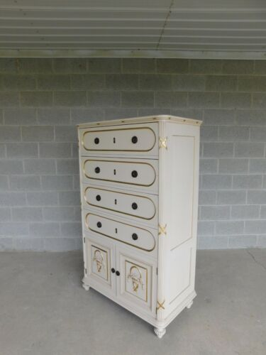 Vintage Hollywood Regency Gilt Gold Accented Original Paint Decorated Chest