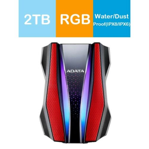 Adata 2TB HD770G RGB Shock-Resistance Waterproof Portable Hard Drive Red