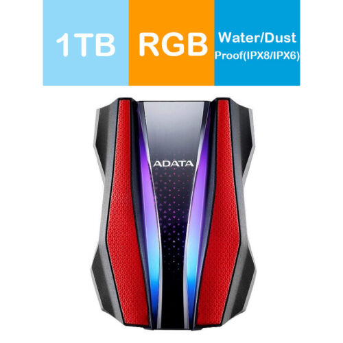 Adata 1TB HD770G RGB Shock-Resistance Waterproof Portable Hard Drive Red