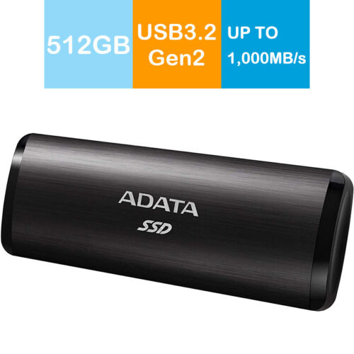 Adata 512GB SE760 External Portable SSD SuperSpeed USB 3.2 Gen2 Type-C Black