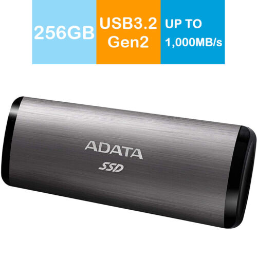 Adata 256GB SE760 External Portable SSD SuperSpeed USB 3.2 Gen2 Type-C Titani...