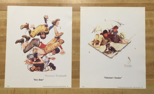 2 NORMAN ROCKWELL PRINTS~FIRST DOWN~FISHERMAN'S PARADISE 8X10 BOYS AT PLAY '97