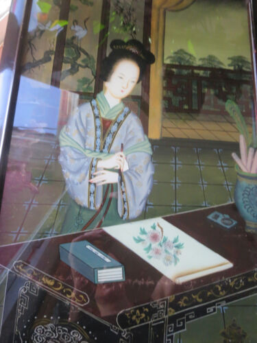 Chinese Antique Portrait Reverse Painting on Glass- Woman drawing