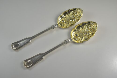 Antique Pair of Gilt Silver Plate Fiddle Thread and Shell Berry Spoons