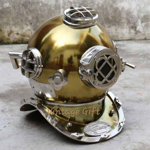 U.S Navy Antique Iron Diving Divers Helmet Mark V Silver & Brass Finish
