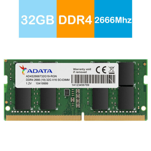 Adata 32GB Premier DDR4 2666MHz High Speed SO-DIMM Memory for Notebook/Laptop