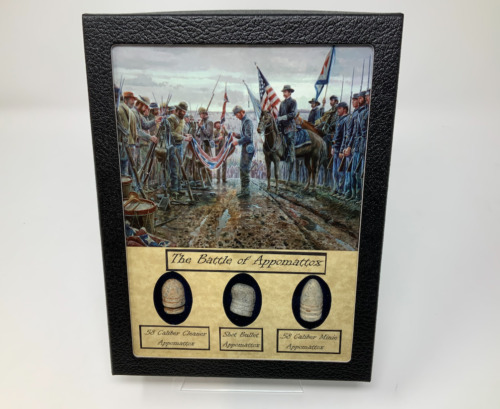 The Battle of Appomattox Civil War Bullet Set with Glass Top Display CaseBullets - 103996