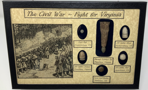 The Civil War~ Fight for Virginia Glass Topped Display Case With Scabbard Tip Bullets - 103996
