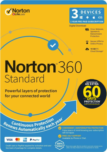 Norton 360 Standard 3 users 1 Year for PC Mac Android with bonus(extra 2 month)