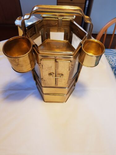 Vintage small Noodle Cart hand made brass reproduction with four accessories