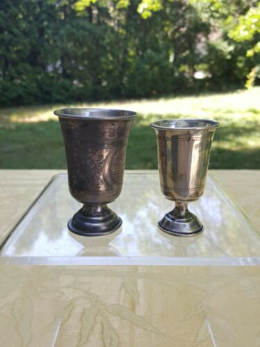 Russian antique  2 silver goblets.