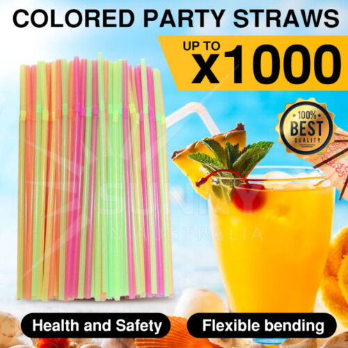 Colourful Straws Flexible Disposable Drinking Plastic Party Kid Friendly Straws
