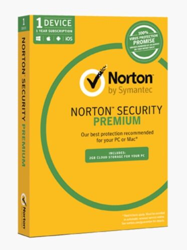 Norton Security Premium 1 Device 12 Months Card+2gb Cloud Storage For Yout PC
