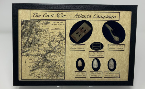 Atlanta Campaign Bullet and Buckle Set with Glass Topped Display Case and COA Bullets - 103996