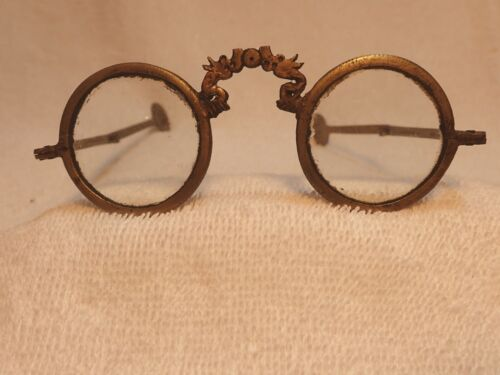 SIGNED 1890's CHINESE BRASS ROUND READING GLASSES WITH ARTICULATING TEMPLES!