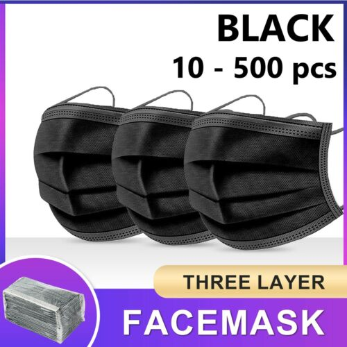 Black / Blue Face Mask 3 Layer Ply Mouth Masks Anti Bacterial Filter Disposable