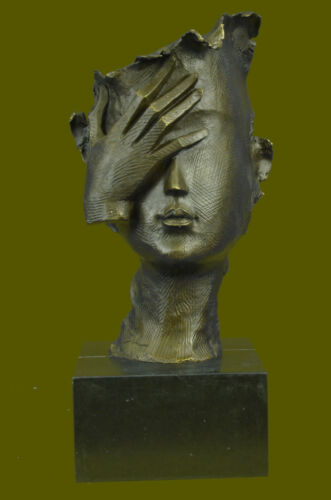 Bronze-Sculpture-Rare-Dali-Woman-Face-Bronze-Sculpture-Marble-Base-Figurine Deal