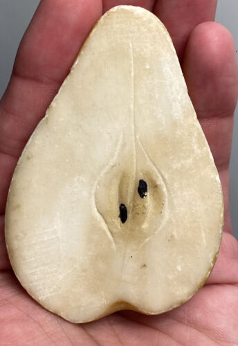 "Early Italian Stone Fruit Exceptional Alabaster Small 3"" Half Pear Fantastic NM"