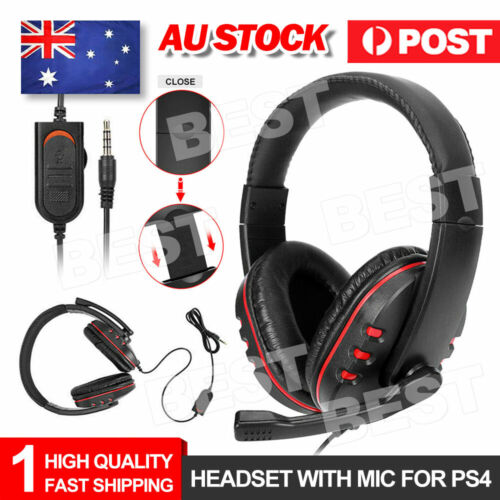 3.5mm Gaming Headset Headphone with Microphone for PC Laptop Sony PS4 Xbox One