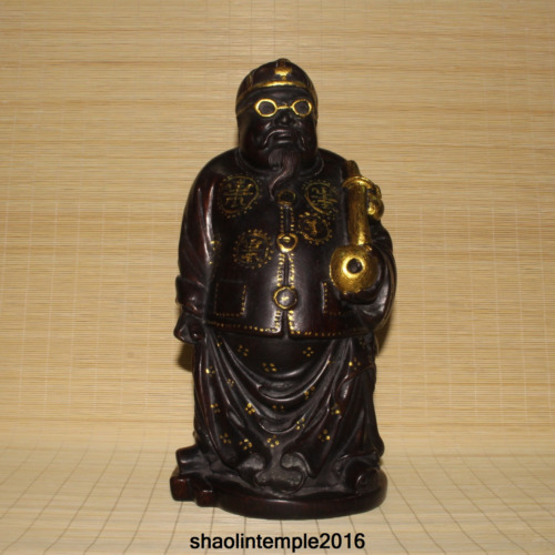 """11.2"""" China Hand carving  Bamboo root Gilding  The old man took his pipe  statue"""