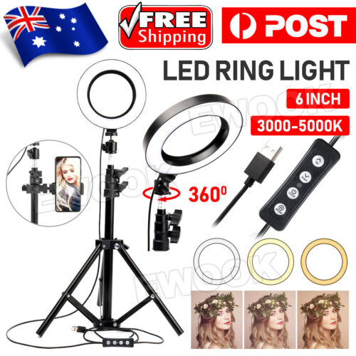 """6"""" Selfie LED Ring Light with Tripod Stand for Phone Live Stream Makeup Desktop"""
